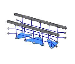 701155SP BRIDGE 2400 TRIANGLE STEP 80M (rail grey, net blue)