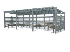PERGOLA WITH ROOF AND LATHWALL
