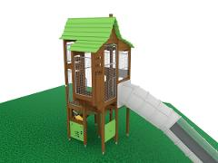 COTTAGE IN THE WOODS & TUBE SLIDE