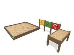 SANDBOX WITH TABLE AND PLAYWALLS